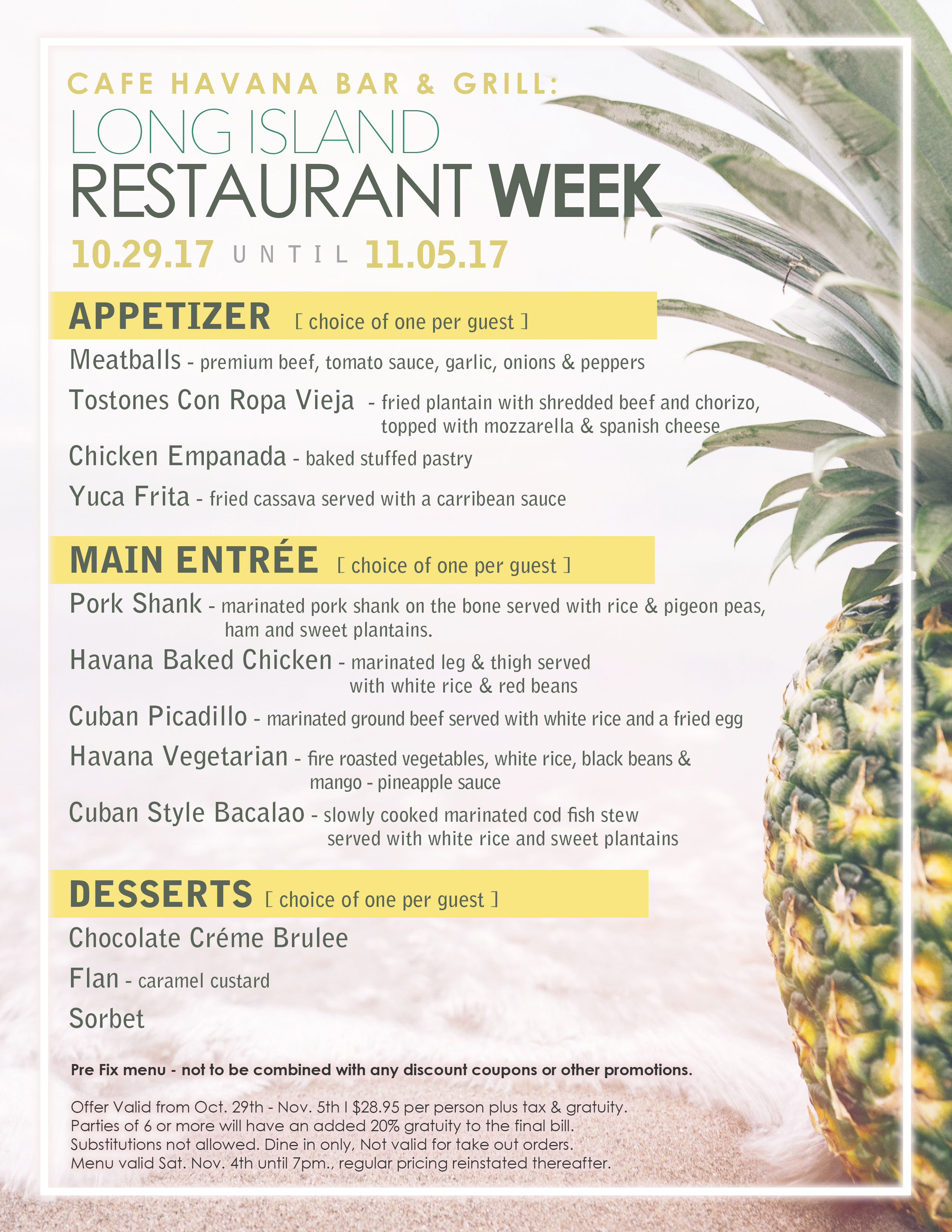 Long Island Restaurant Week 2017